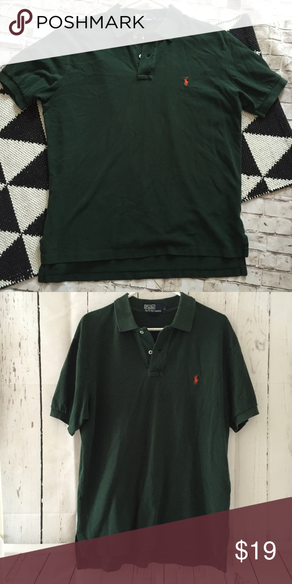 Polo Ralph Lauren large dark green polo shirt Great condition! All my items are pictured accordingly. Every details are on the picture. If not pictured the dry clean tag, item doesn't need dry clean. Measurements are also in the photos and the details of the fabric. Please zoom in. Please check accordingly. Bundle & save!! Always message me if you need more discount on your items. I try to work as best as I can. Thank you! Polo by Ralph Lauren Shirts Polos
