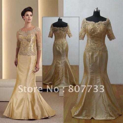 Gold wedding dresses for mature brides parents 50th for Dresses for 50th wedding anniversary party
