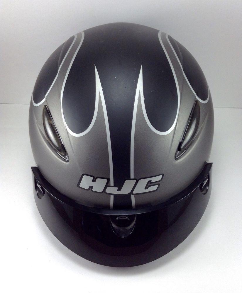 HJC FLAME CL-21 SILVER & BLACK Half Helmet Motorcycle Helmet Size M in eBay Motors | eBay