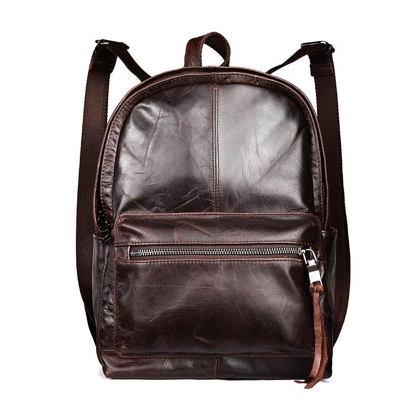 22bda886fb 2016 Women Men Backpack A for Teenage Girls Genuine Leather School Bag  Vintage Male Shoulder Bag Waterproof Travel Bag Big Space