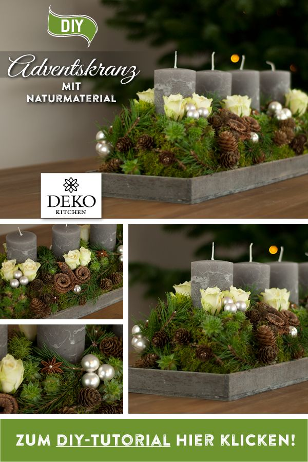 DIY-Weihnachtsdeko: länglicher Adventskranz mit Naturmaterial