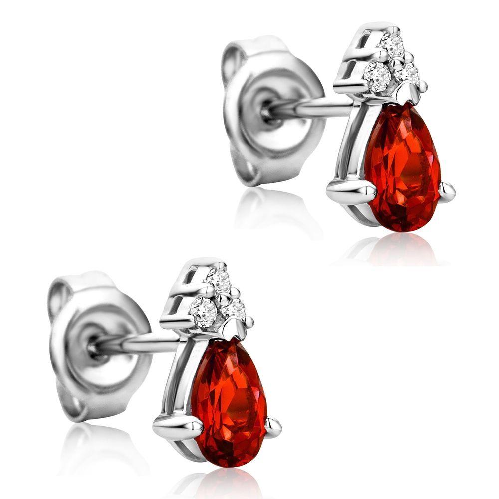 Women/'s Red Crystal 925 Plaqué Argent Oreille Goujon Boucles D/'Oreilles Créoles Bijoux Cadeau