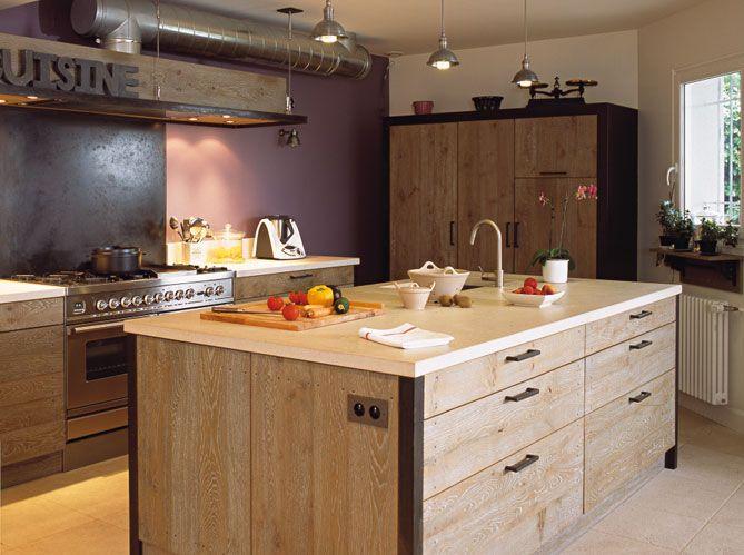 Cuisine Ambiance Maison Et Meuble Pinterest Séparation - Meuble en frene massif pour idees de deco de cuisine
