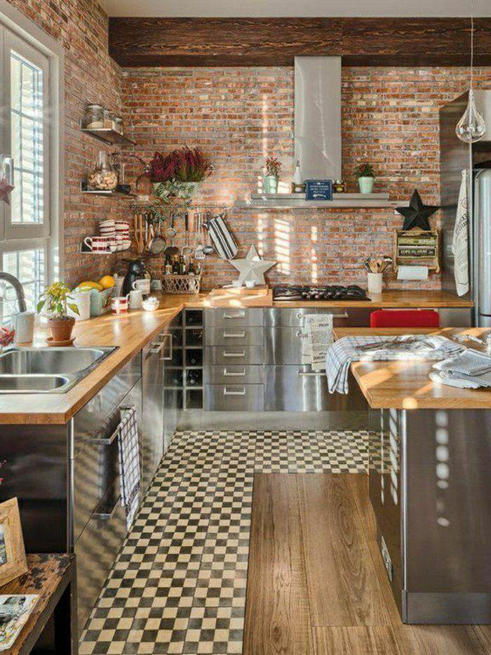 revetement mural de cuisine en habillage mural brique. Black Bedroom Furniture Sets. Home Design Ideas