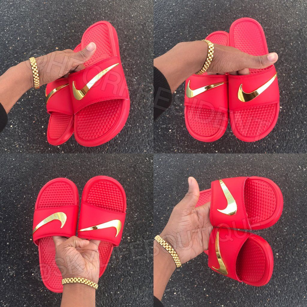 127d66cf6949c Nike Benassi Swoosh Red Golden Check Slides