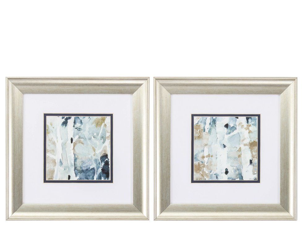 Blue Watercolor 2 Piece Framed Painting Print Set Painting Frames Square Wall Art Blue Watercolor