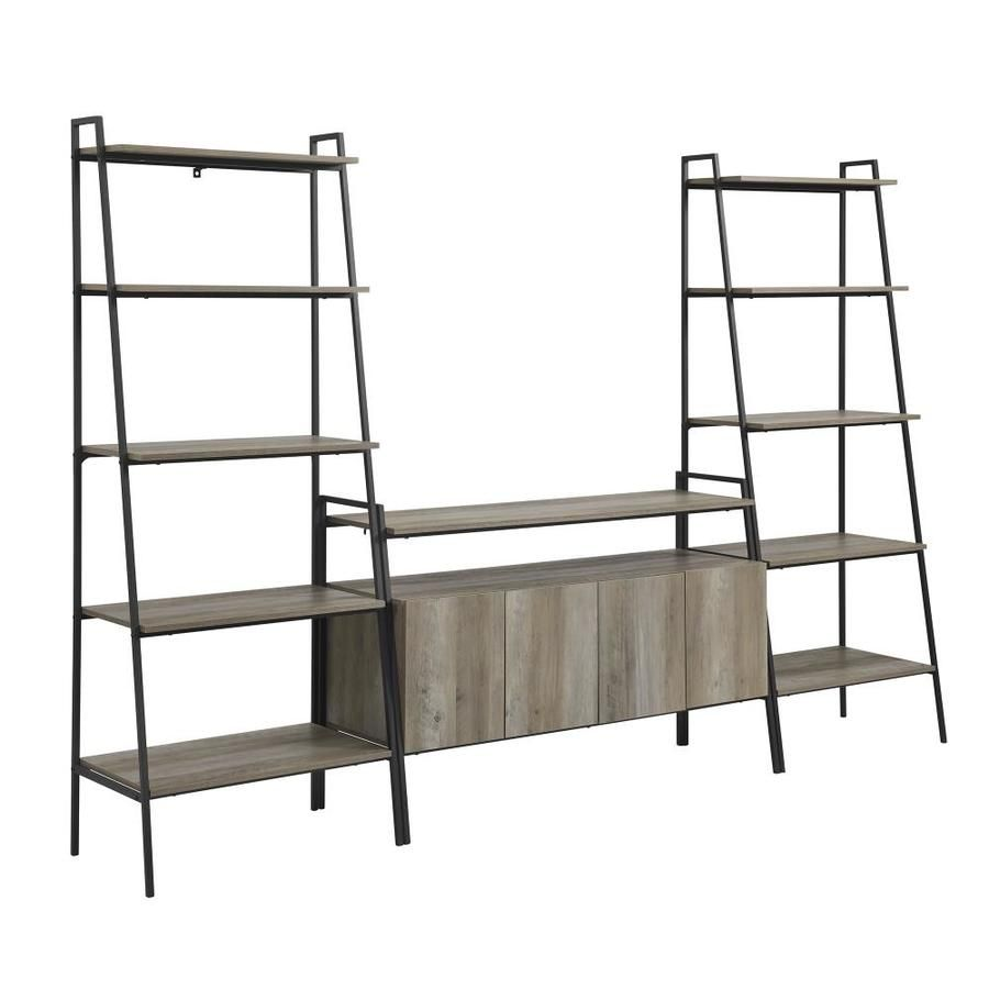 Walker Edison 3 Piece Ladder Shelf Entertainment Wall Grey Wash