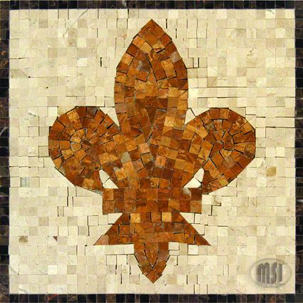 Fleur De Lys Medallion Marble 12x12 Polished Mosaics Mosaic Medallion Marble Mosaic Stone Mosaic