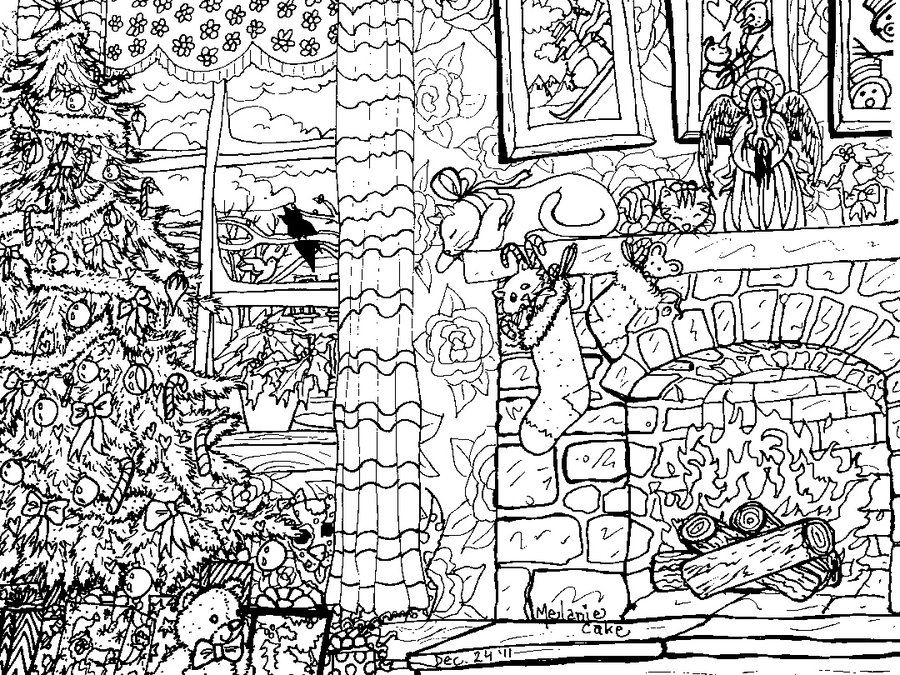 Detailed Christmas Coloring Pages Christmas Coloring