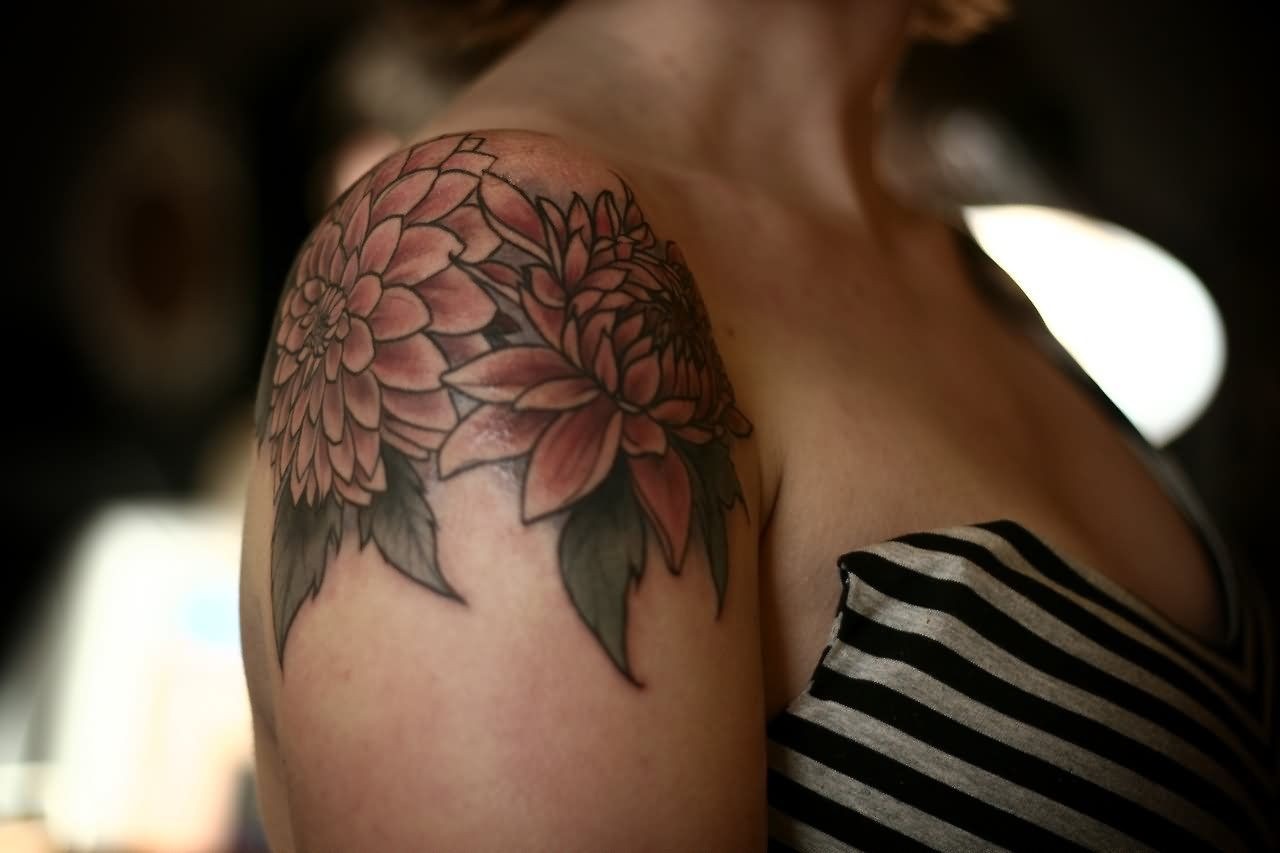 Cool Dahlia Flowers Tattoo On Right Shoulder Ink Pinterest