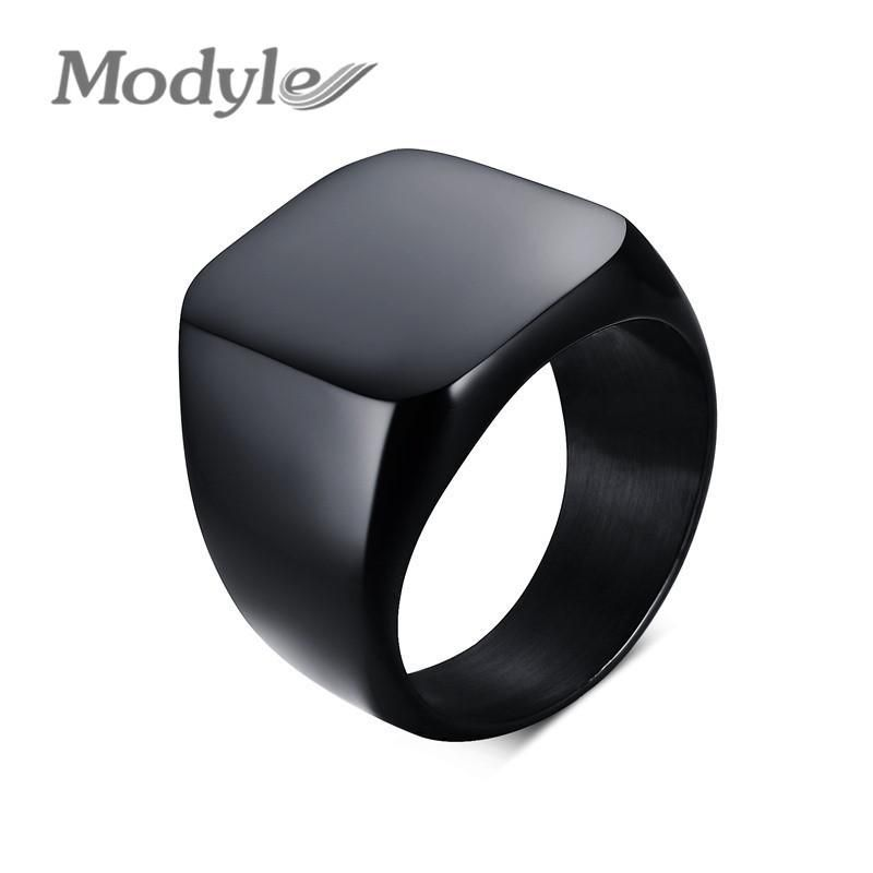 Men/'s Stainless Steel Ring Vintage Black High Polished Signet Ring Biker rings