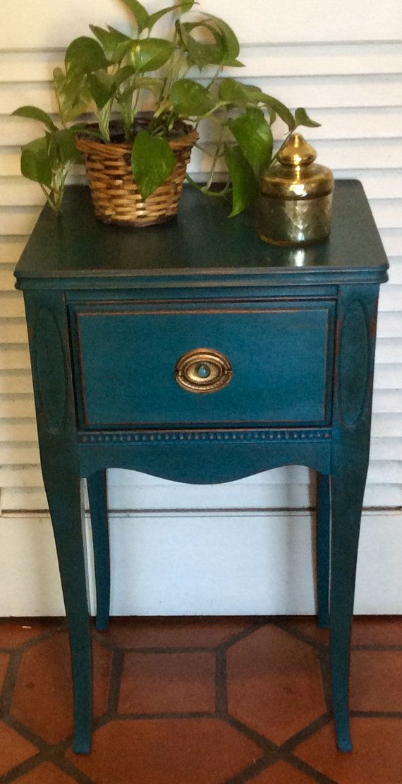 Vintage Sapphire Blue Nightstand 1940s By Revisitedconcepts Blue