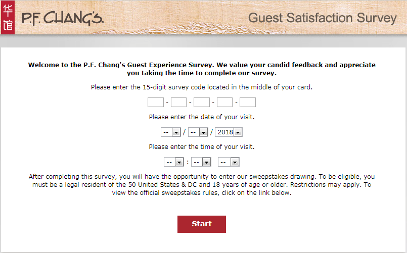 P F Chang S Guest Satisfaction Survey Sweepstakes