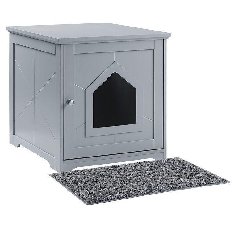 Kaliyah Litter Box Enclosure With Mat In 2020 Cat Houses Indoor Indoor Cat Litter Box