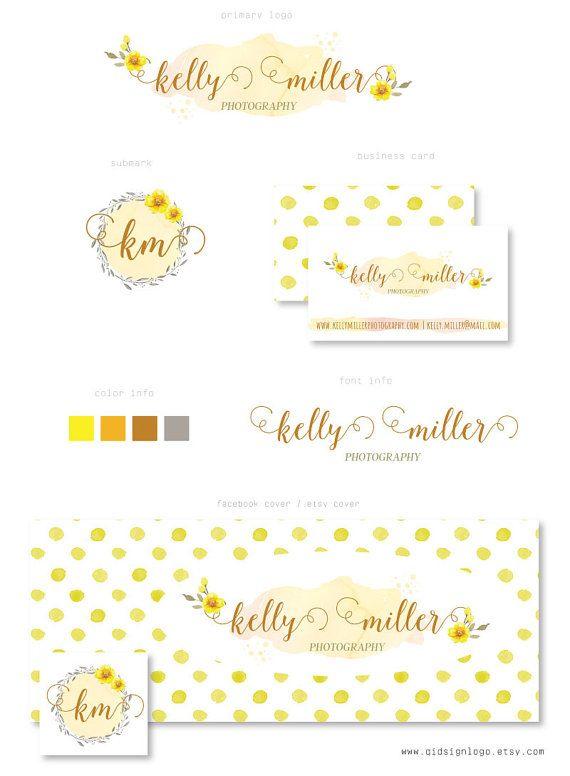 Branding kit watercolor flower yellow dots cover photo watermark branding kit watercolor flower yellow dots cover photo watermark business card colourmoves