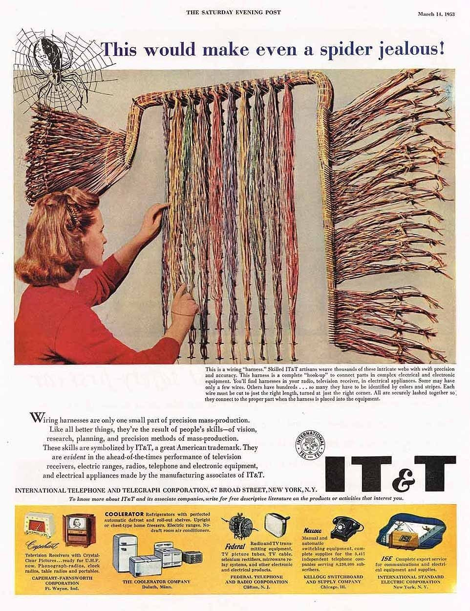 1953 telephone AD AT&T-woman at the wiring harness-ORIGINAL ADVERTISING |  eBay