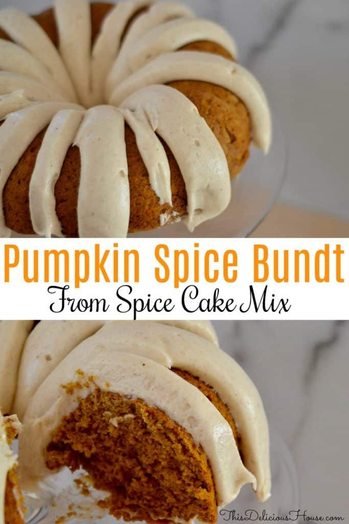 The BEST Pumpkin Spice Bundt Cake with spiced Cream Cheese Frosting is made using boxed spice cake mix and canned pumpkin. Don't miss this simple and delicious pumpkin bundt cake recipe that so easy to make. #pumpkinbundt #pumpkinspicecake #pumpkinspicecupcakes