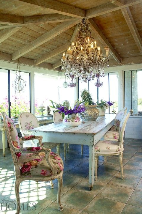 Romantic Design Trends: Romantic Vintage Room Decoration – Romantic Homes Magazine  (Love the Table!) C.:)