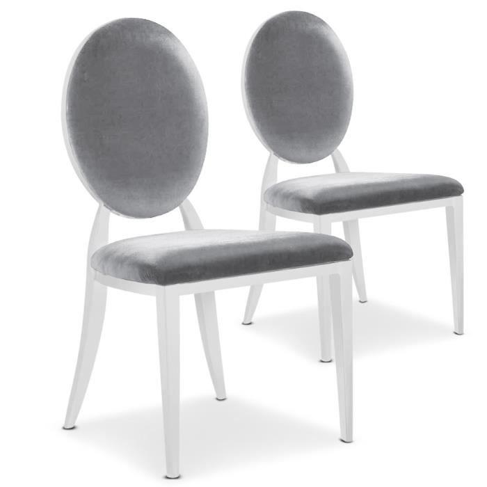 lot de 2 chaises sofia milk velours argent achat vente chaise velours cdiscount - Vente De Chaises