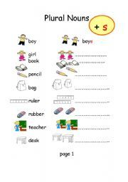 English Worksheet Plural Nouns S And Es Plurals Plural Nouns Nouns Plural form of nouns worksheets