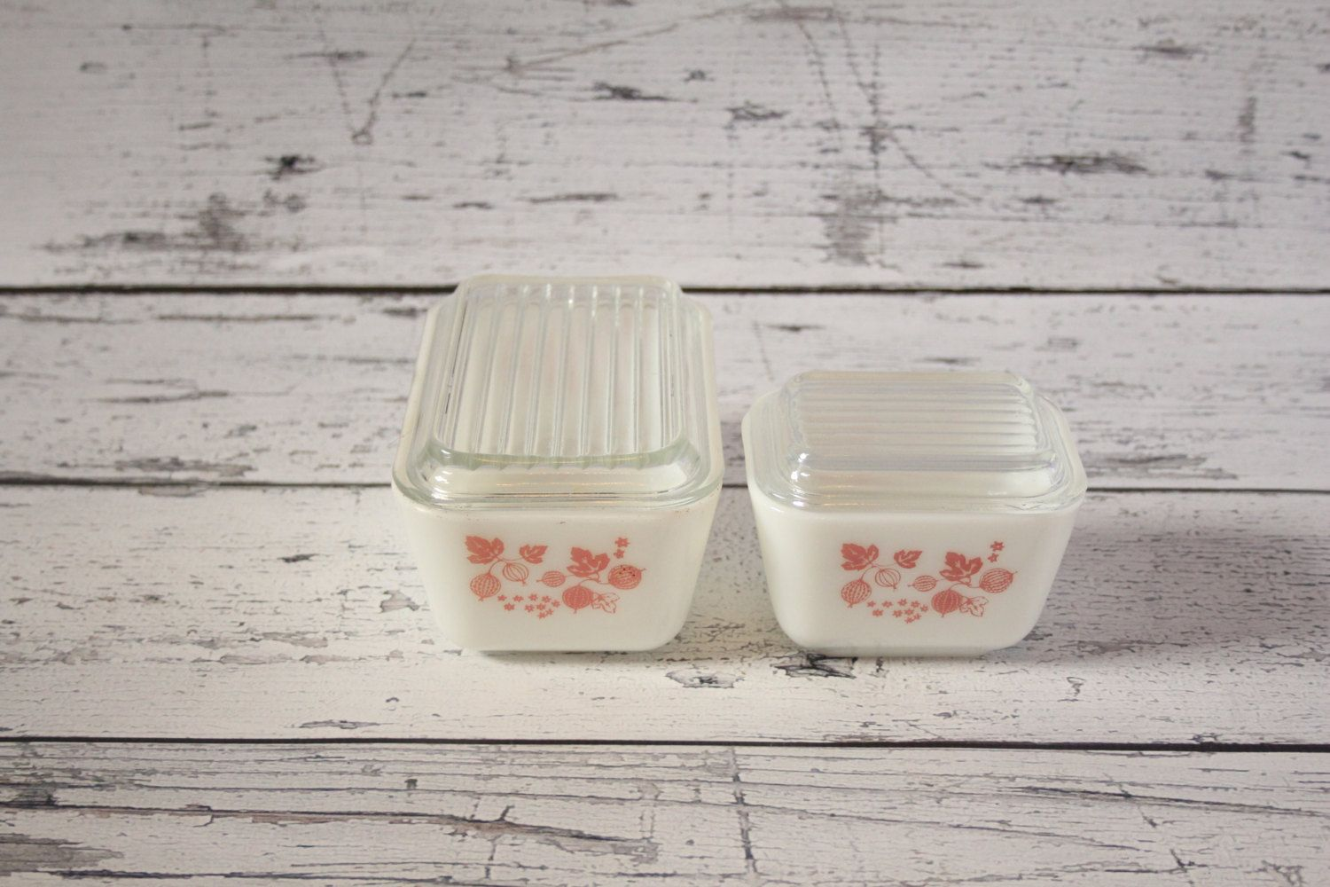 Vintage Set of Pyrex Pink White Gooseberry Refrigerator Dish With