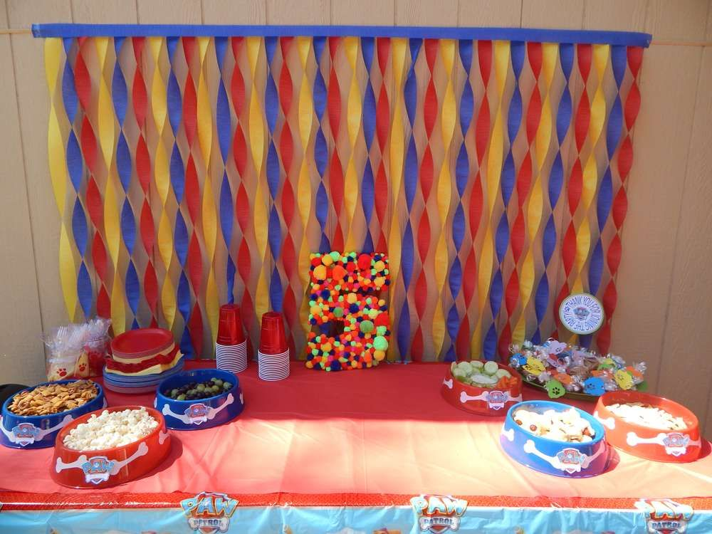 Paw patrol birthday party ideas paw patrol birthday paw for Background decoration for birthday party