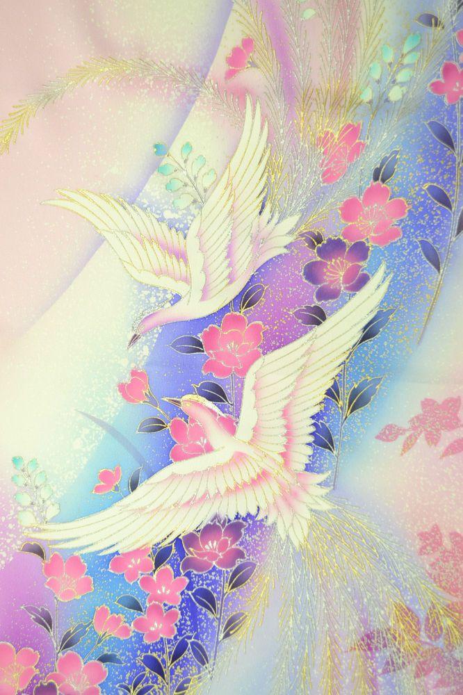 VINTAGE SILK WEDDING FABRIC:Dynamic Phoenix/Cherry Blossom@R91