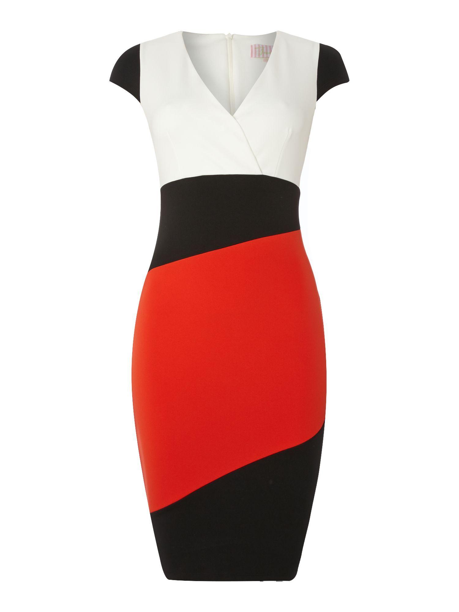 Jessica wright colour block cap sleeve wrap dress multicoloured