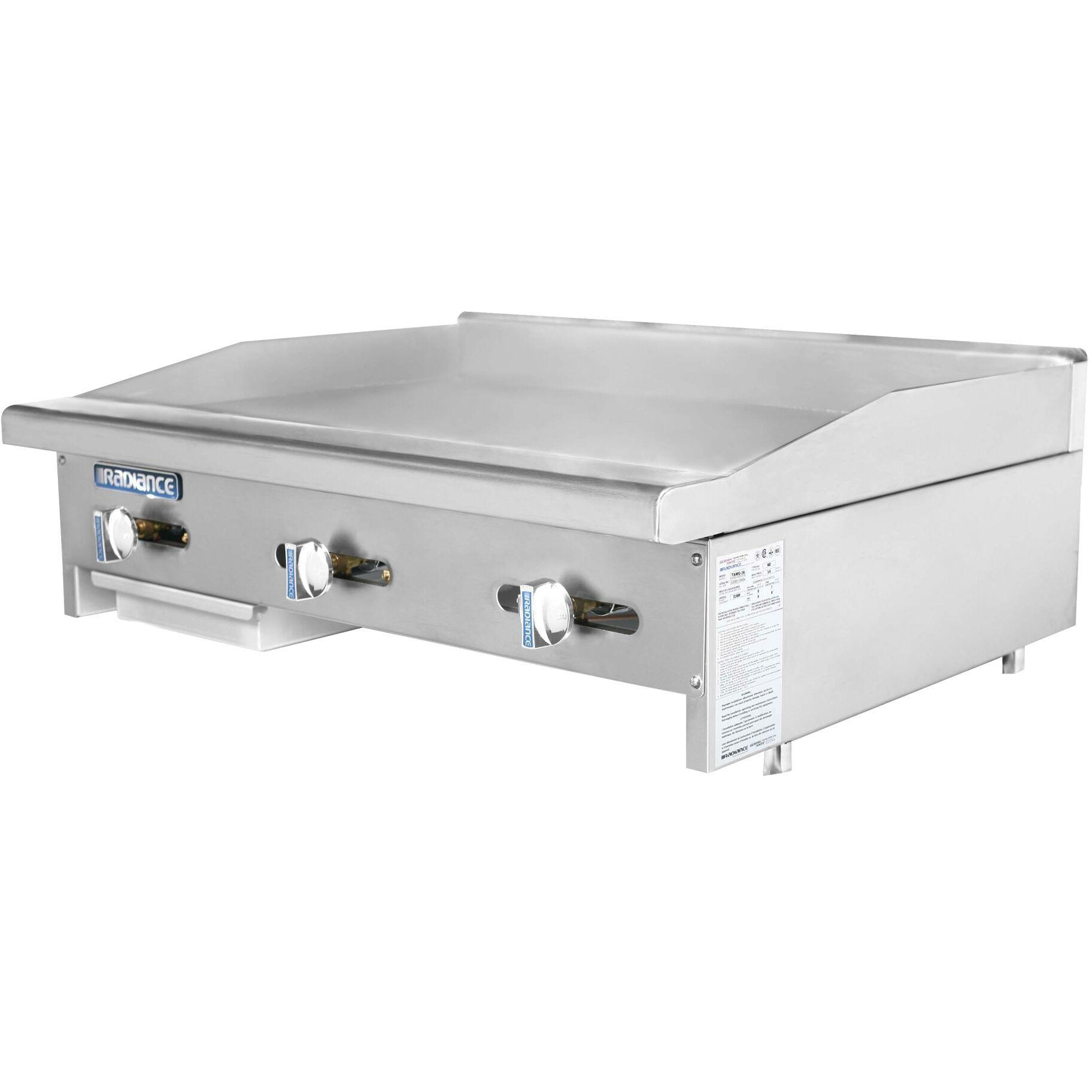 Radiance Commercial Kitchen Countertop Flat Gas Griddle 36