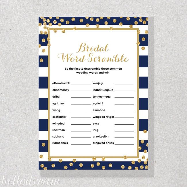 navy bridal word scramble game gold confetti bridal shower games bachelorette party skuhdg21 by hellodreamstudio on etsy