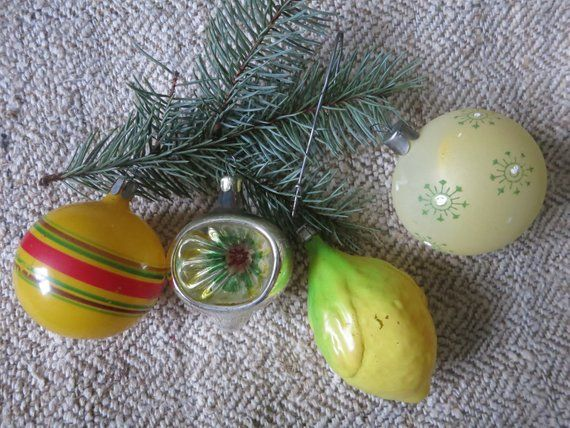 Soviet Christmas glass ball toy New year tree Made in USSR Antique
