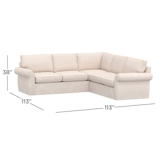 Pearce Slipcovered 2 Piece L Shaped Sectional Down Blend