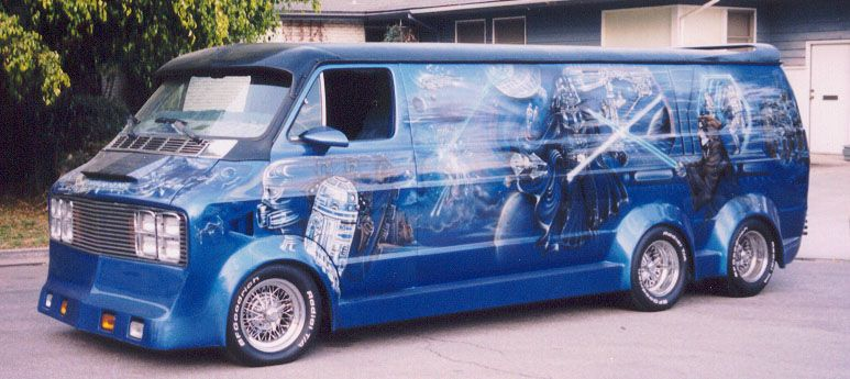 Yep It S A Six Wheeled Star Wars Themed Custom Van And It S Spectacular Custom Vans Cool Vans Vans