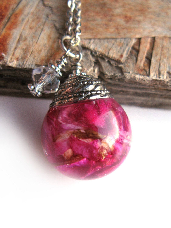 Rose Petals Resin Pendant Necklace Real Rose Petals