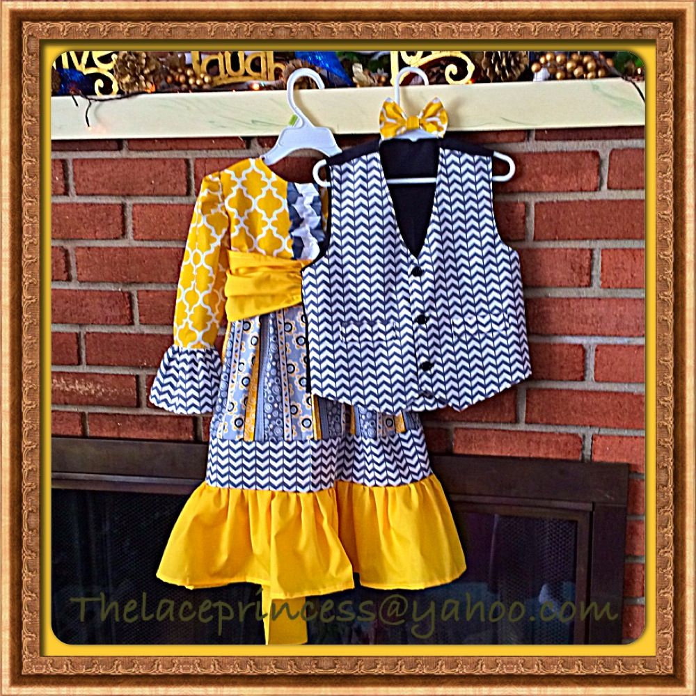 Matching dress and vest for siblings brother and sister Easter spring Palm Sunday
