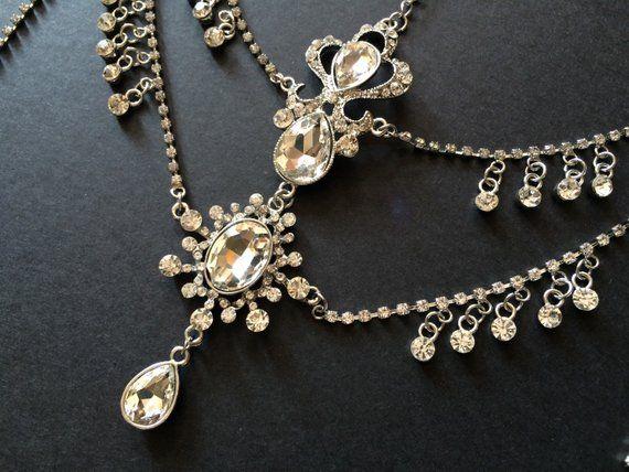 Victoria wedding hair chain, rhinestone drape, hair chain, vintage hair tiara, rhinestone headband, rhinestone crystal, bridal forehead clip #hairchains