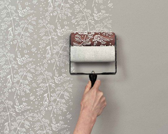 Paint Idea diy idea: paint roller printed walls | painted houses, idea paint