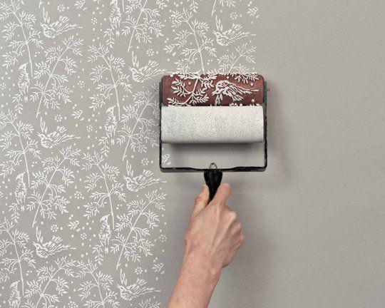 Paint Idea diy idea: paint roller printed walls | painted houses, idea paint