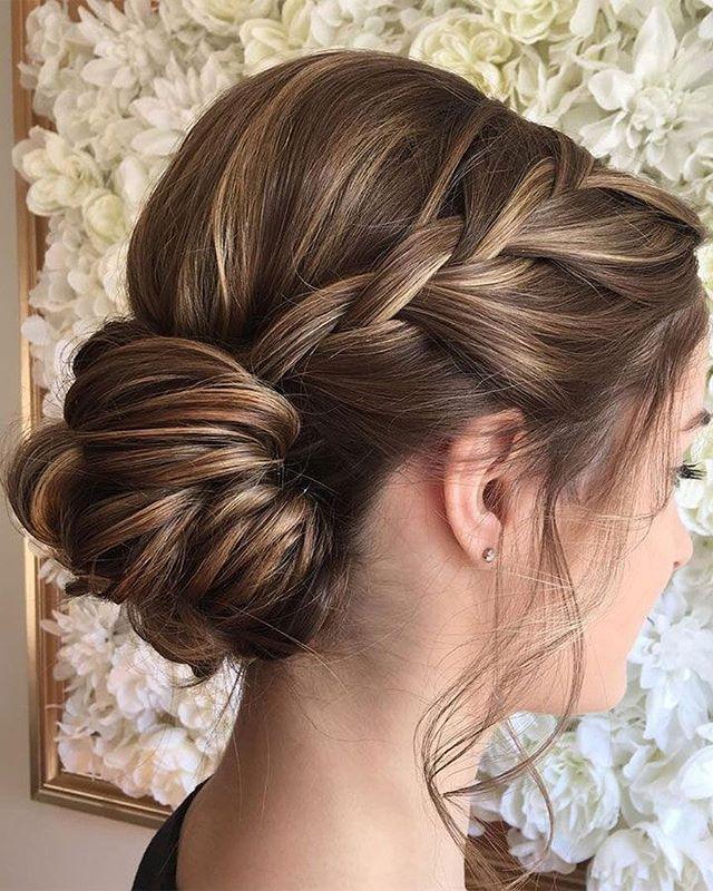 Pretty braided updo wedding hairstyle