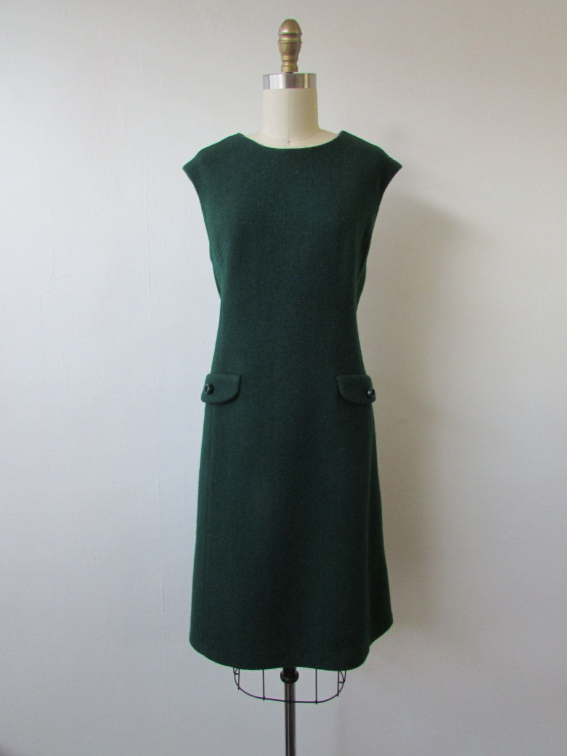 s Peck and Peck forest green wool shift dress  vintage s