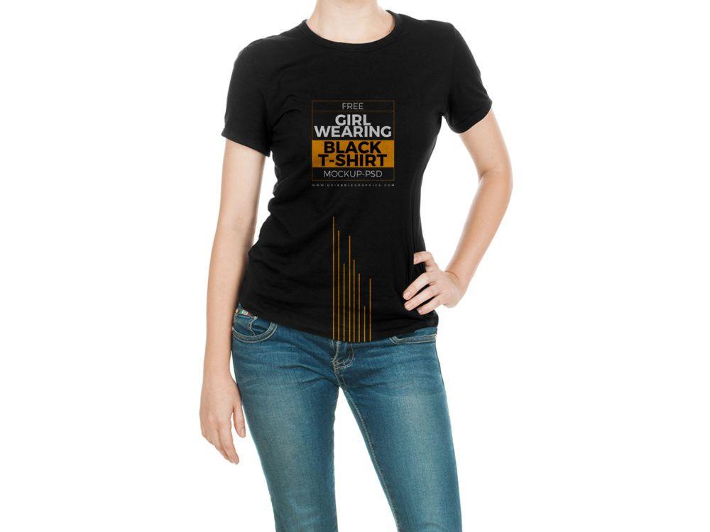 Download Girl Black T Shirt Free Mock Up Psd Template Black Tshirt Shirt Mockup T Shirts For Women