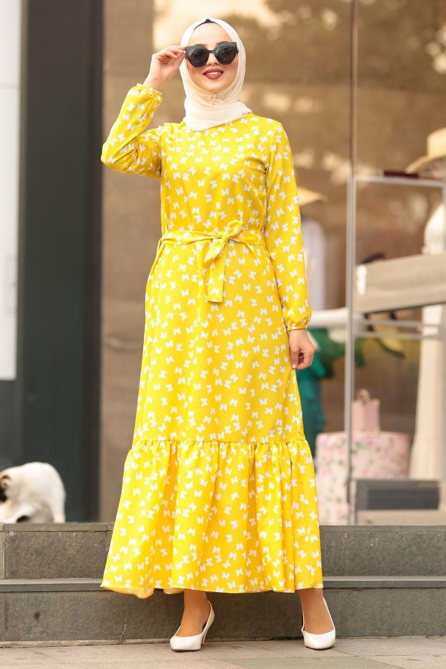 Nayla Collection Kelebek Desenli Sari Tesettur Elbise 5005sr Tesetturisland Com The Dress Musluman Elbisesi Elbise