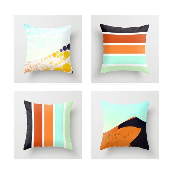 Modern Throw Pillow Cover, Home/Office/Nursery Decor, Black/Orange/Aqua/Mint Color Palette, Africa/Sand Dune Photography