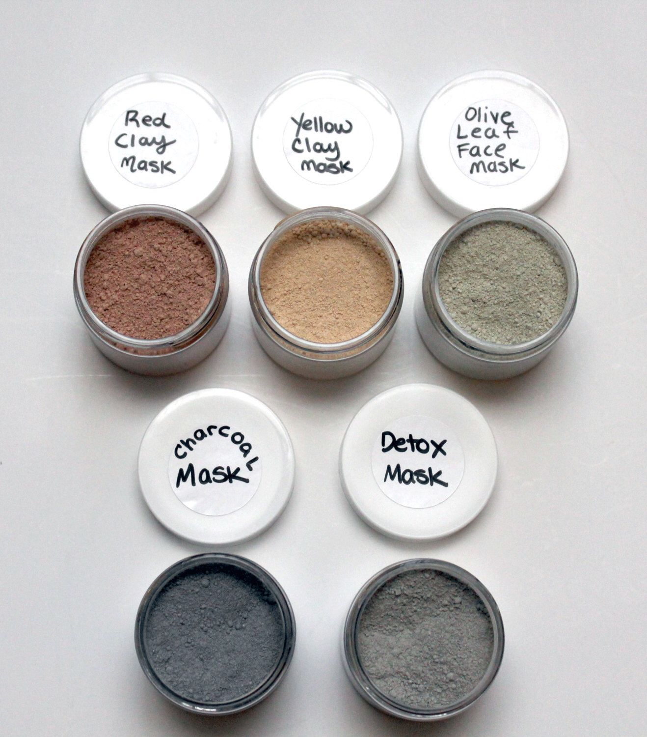 Face Mask Set, Detox Mask, Charcoal Mask, Sea Clay Mask, Acne Mask, Aging Mask, Facial Mask by BodyLovePotions on Etsy https://www.etsy.com/listing/207136708/face-mask-set-detox-mask-charcoal-mask