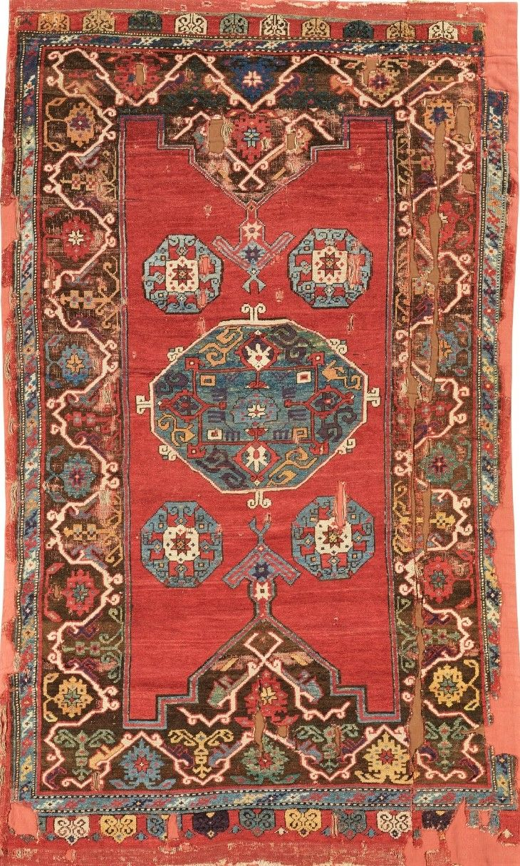 Turkish Konya Fragmentary Rug Approximately 251 By 153cm 8ft 3in 5ft 17th Century Possibly Earlier Sot Oriental Rugs Bedroom Rugs On Carpet Tribal Rug