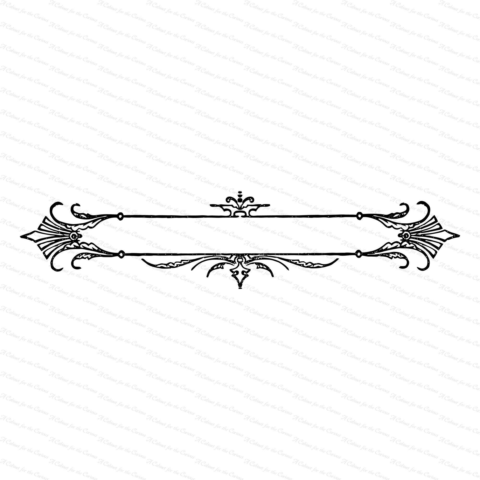 Vintage Ornate Decorative Title Border Element Antique Etsy In 2021 Clip Art Borders Lettering Fonts Monogram Backgrounds