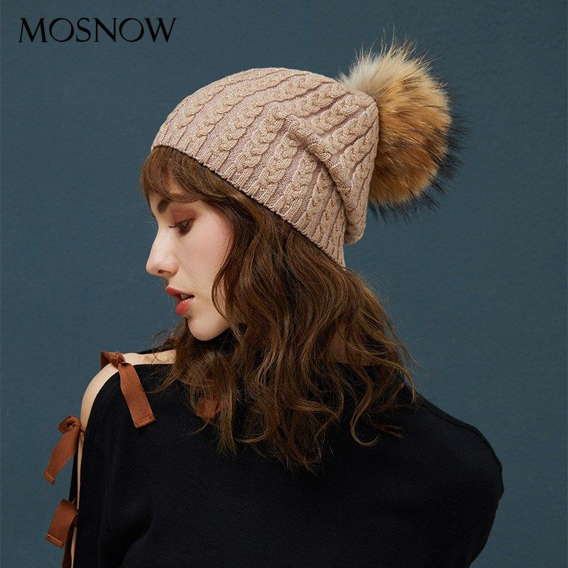7ca57963061 Winter Hats For Women Warm Beanie Real Fur Pompom Wool Hat Female  Twist-Type Cap Bright Silk Beanies Women s Hat 5 Colors now available on  Affordable ...