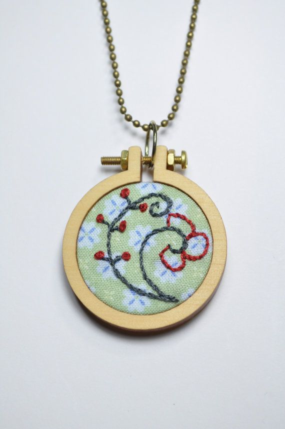 Hand embroidered mini hoop necklace by Crossibilities on Etsy