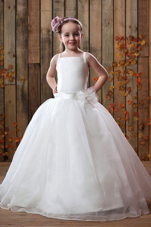 9dd77ba25779b Full Length White Ivory Flower Girl Dresses Kids Evening Gown Child Bridesmaid  Dresses Girl Pageant Communion Gown Spaghetti Straps Little Girl Wedding ...