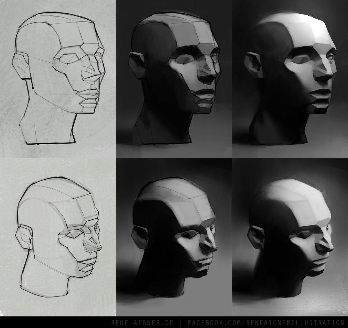René Aigner's Sketchbook via PinCG.com head - faceted - constructive drawing - volumes